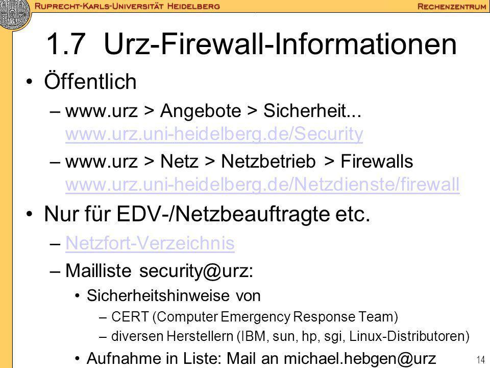 1.7 Urz-Firewall-Informationen