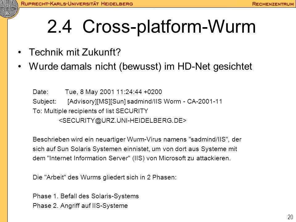 2.4 Cross-platform-Wurm Technik mit Zukunft