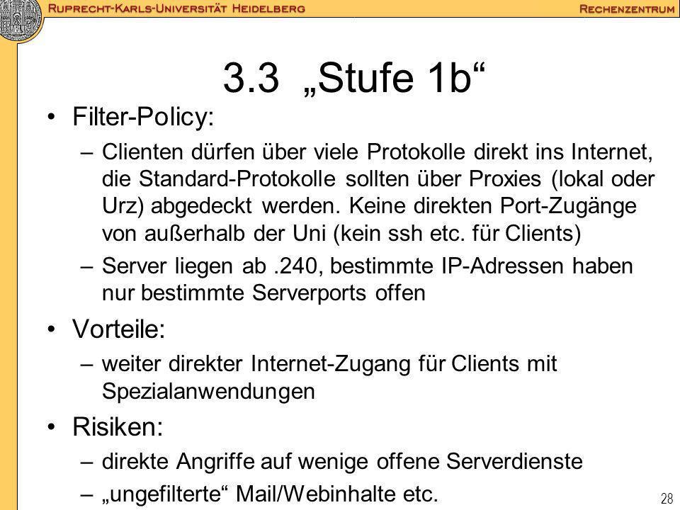 """3.3 """"Stufe 1b Filter-Policy: Vorteile: Risiken:"""