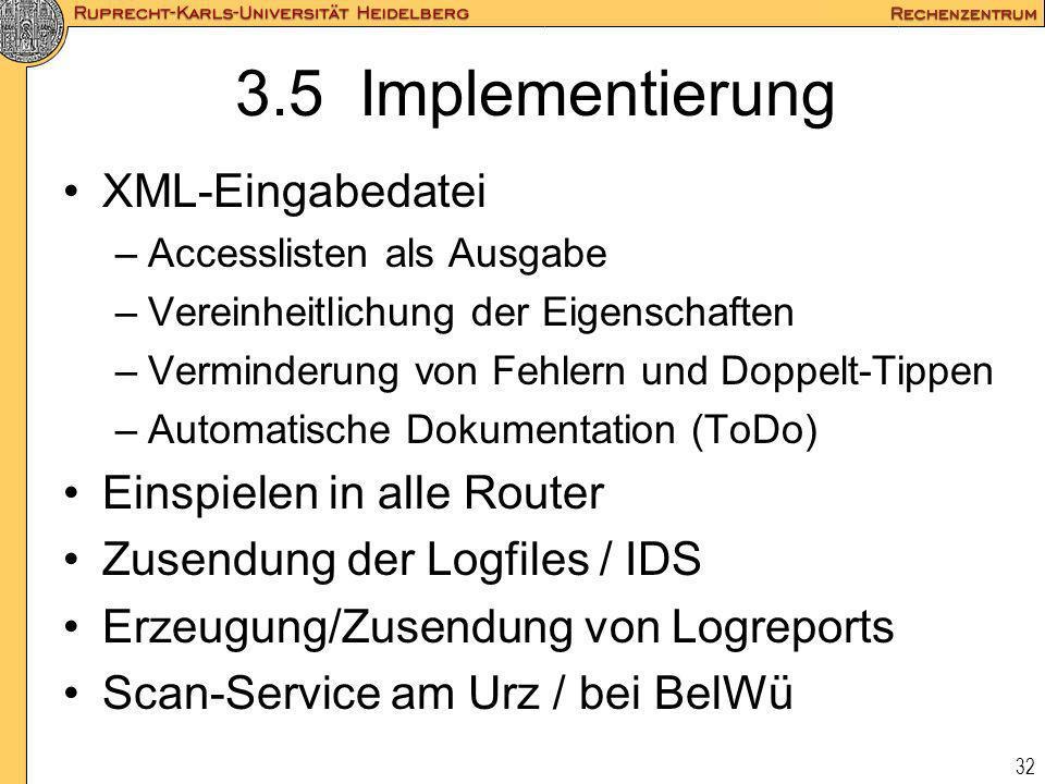 3.5 Implementierung XML-Eingabedatei Einspielen in alle Router