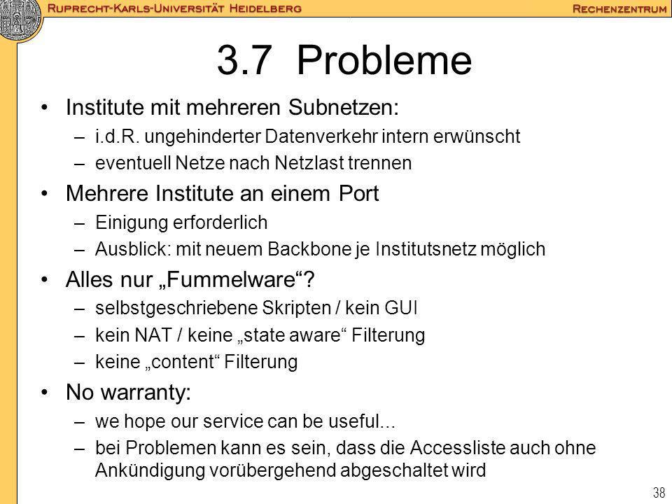 3.7 Probleme Institute mit mehreren Subnetzen: