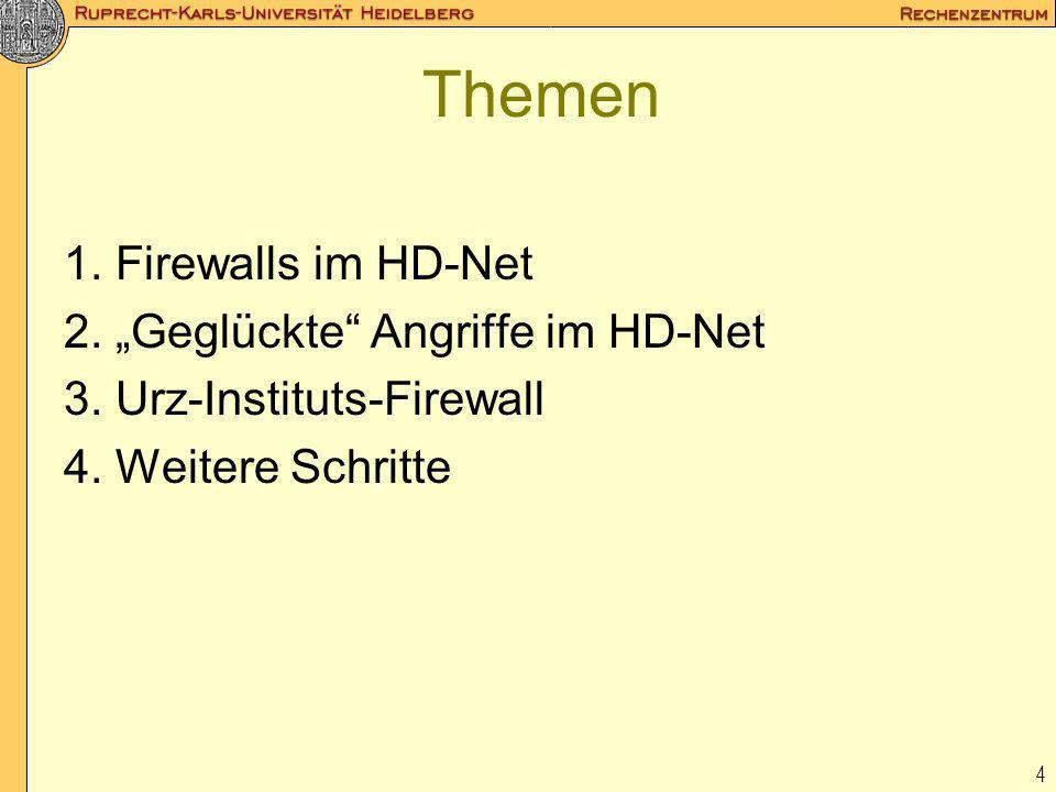 "Themen 1. Firewalls im HD-Net 2. ""Geglückte Angriffe im HD-Net"