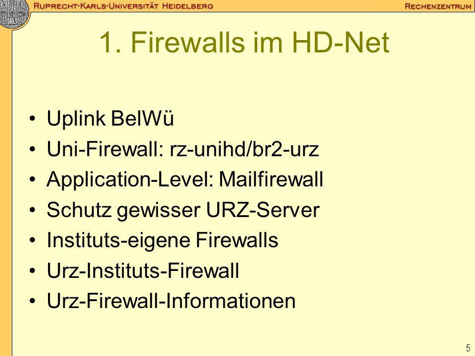 1. Firewalls im HD-Net Uplink BelWü Uni-Firewall: rz-unihd/br2-urz