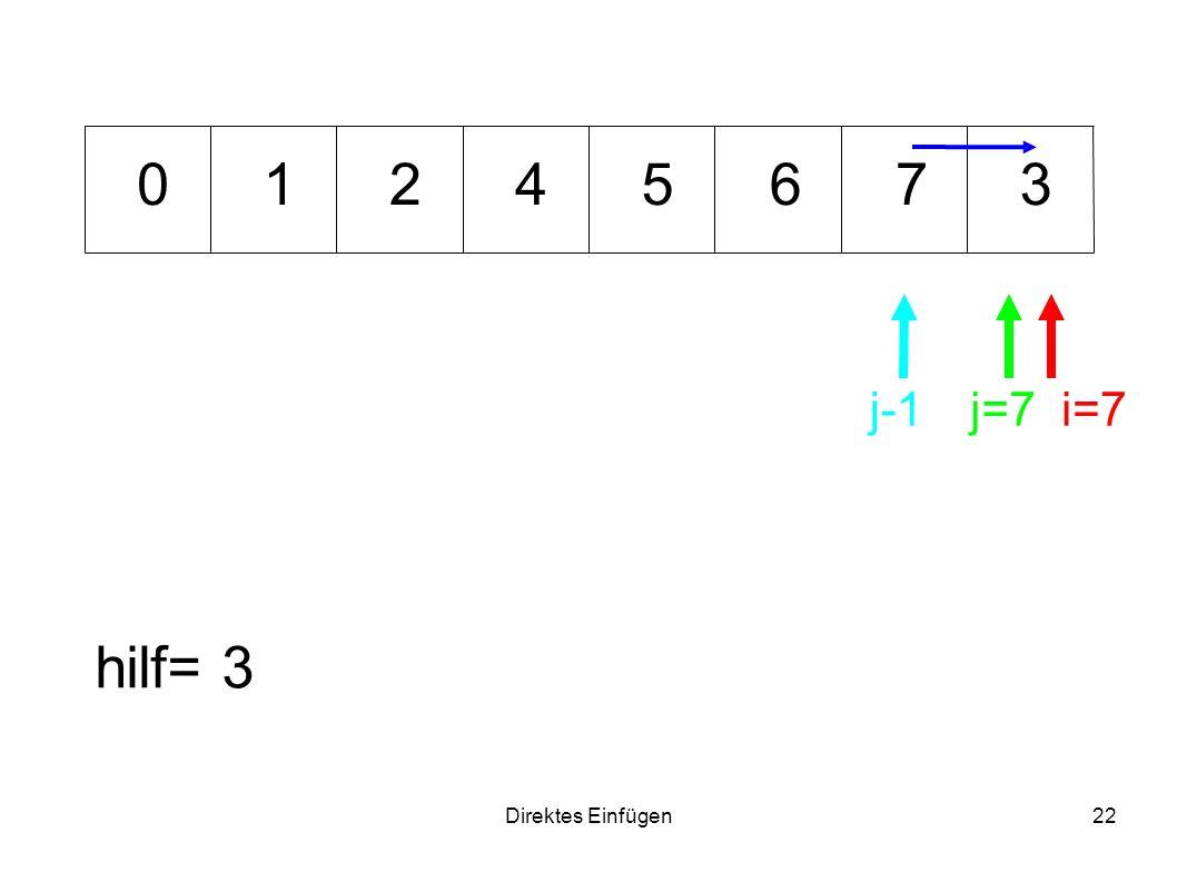1 2 4 5 6 7 3 j-1 j=7 i=7 hilf= 3 Direktes Einfügen