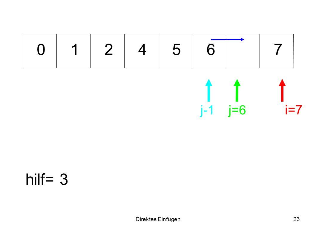 1 2 4 5 6 7 j-1 j=6 i=7 hilf= 3 Direktes Einfügen