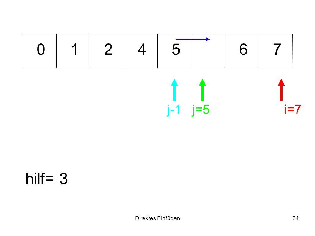 1 2 4 5 6 7 j-1 j=5 i=7 hilf= 3 Direktes Einfügen