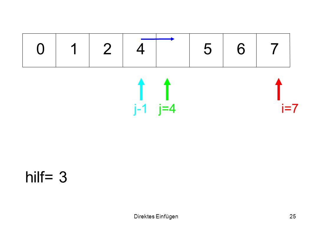 1 2 4 5 6 7 j-1 j=4 i=7 hilf= 3 Direktes Einfügen