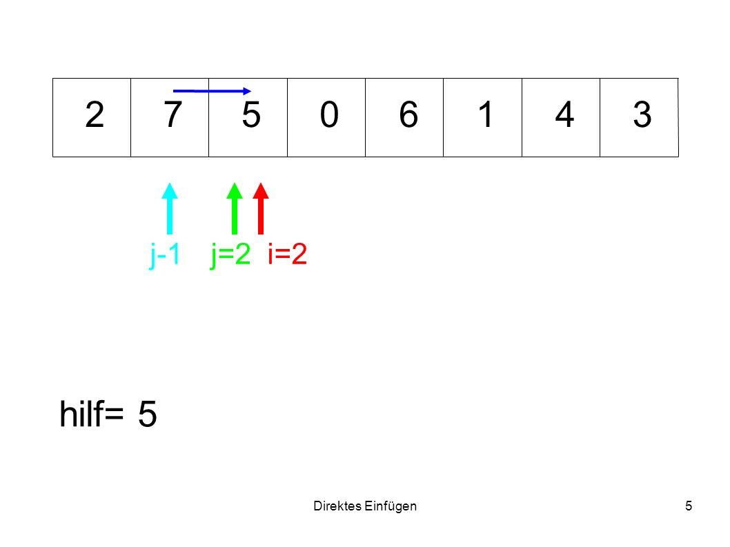 2 7 5 6 1 4 3 j-1 j=2 i=2 hilf= 5 Direktes Einfügen