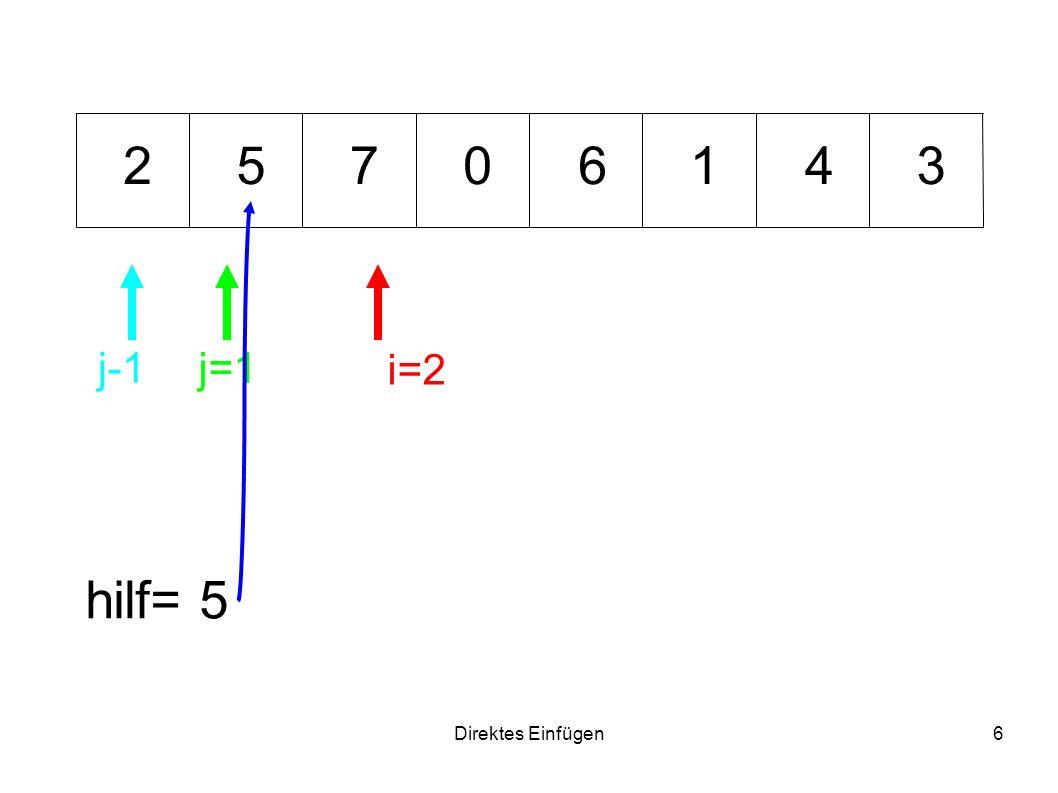 2 5 7 6 1 4 3 j-1 j=1 i=2 hilf= 5 Direktes Einfügen