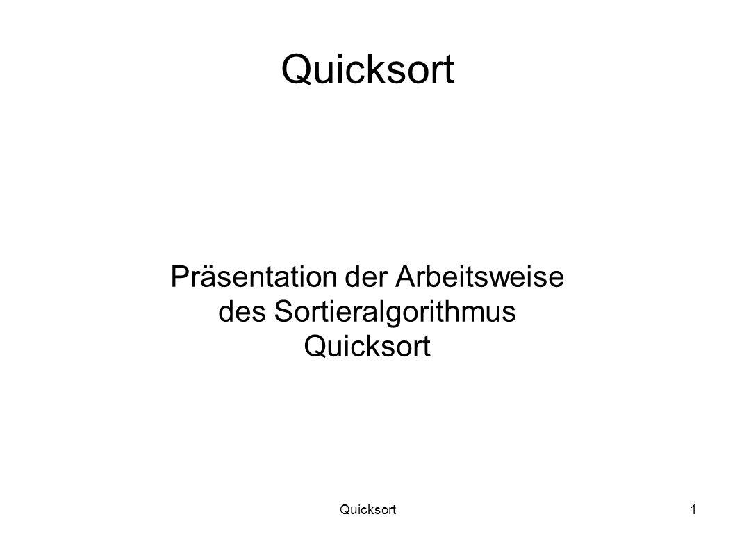 Präsentation der Arbeitsweise des Sortieralgorithmus Quicksort