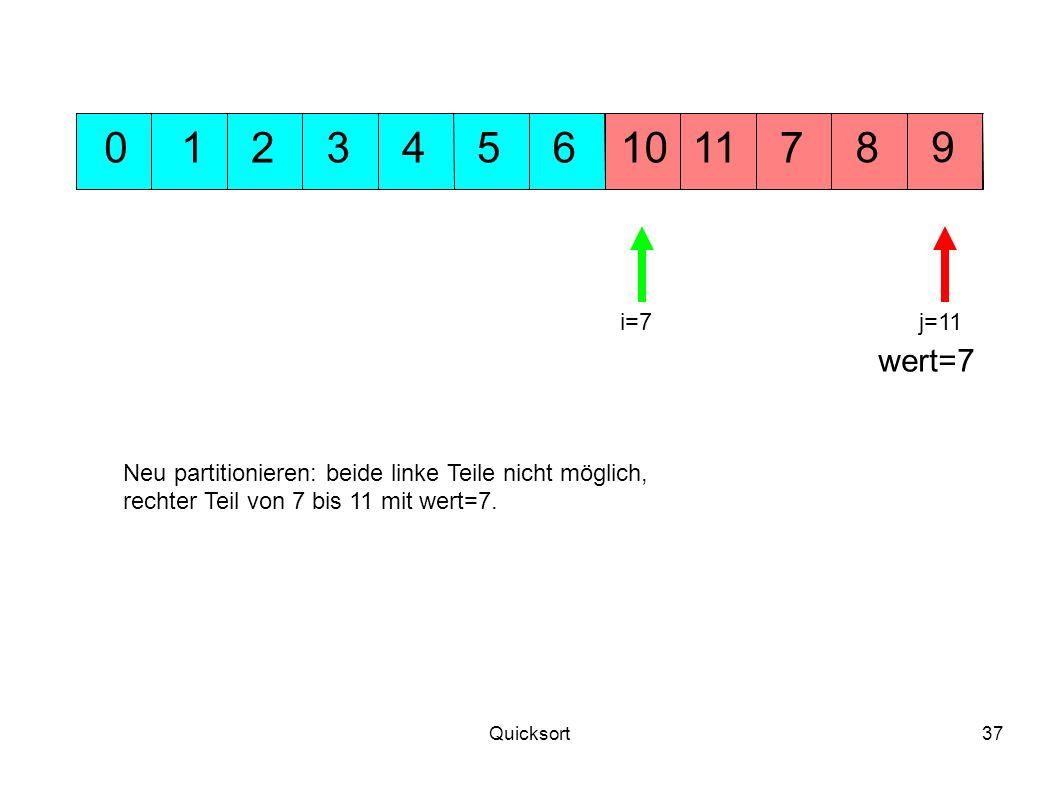 1 2. 3. 4. 5. 6. 10. 11. 7. 8. 9. i=7. j=11. wert=7. Neu partitionieren: beide linke Teile nicht möglich,