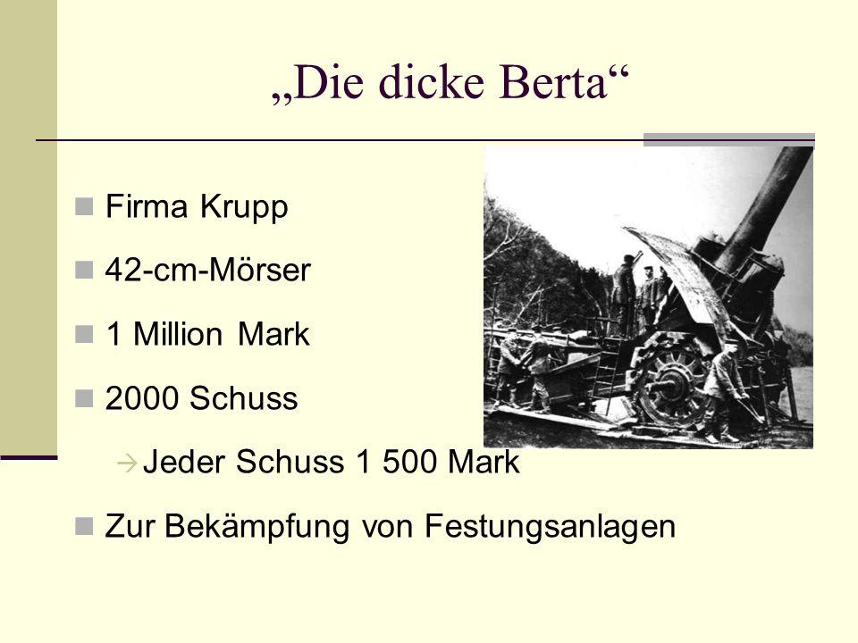"""Die dicke Berta Firma Krupp 42-cm-Mörser 1 Million Mark 2000 Schuss"