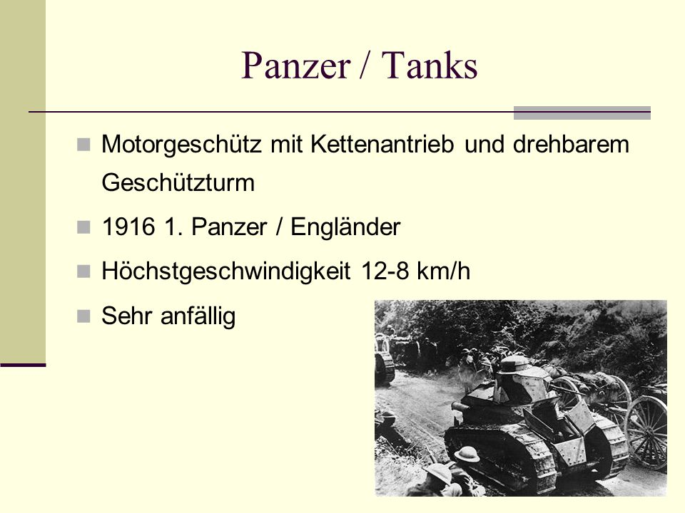 Panzer / Tanks Motorgeschütz mit Kettenantrieb und drehbarem Geschützturm. 1916 1. Panzer / Engländer.