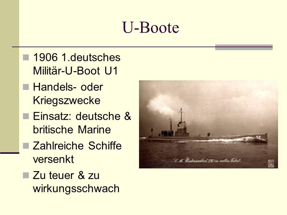 U-Boote 1906 1.deutsches Militär-U-Boot U1 Handels- oder Kriegszwecke