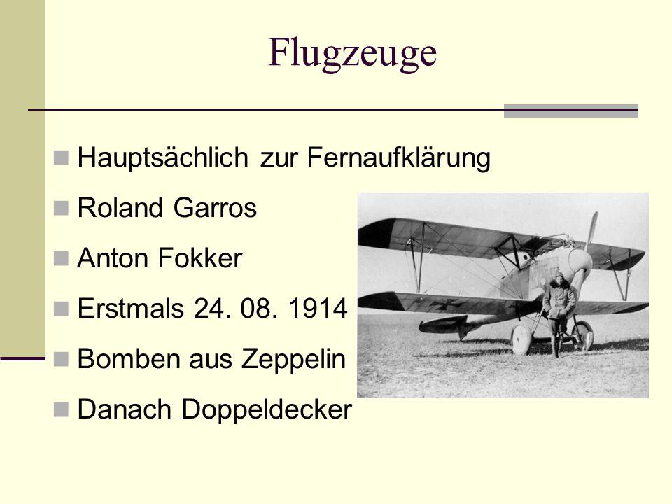 Flugzeuge Hauptsächlich zur Fernaufklärung Roland Garros Anton Fokker