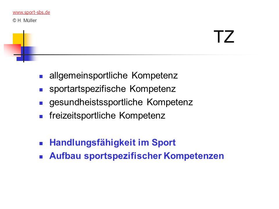TZ allgemeinsportliche Kompetenz sportartspezifische Kompetenz