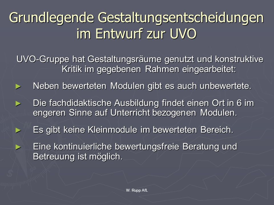 Grundlegende Gestaltungsentscheidungen im Entwurf zur UVO