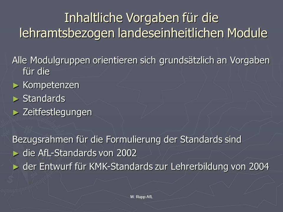 Inhaltliche Vorgaben für die lehramtsbezogen landeseinheitlichen Module