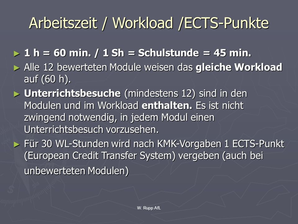 Arbeitszeit / Workload /ECTS-Punkte