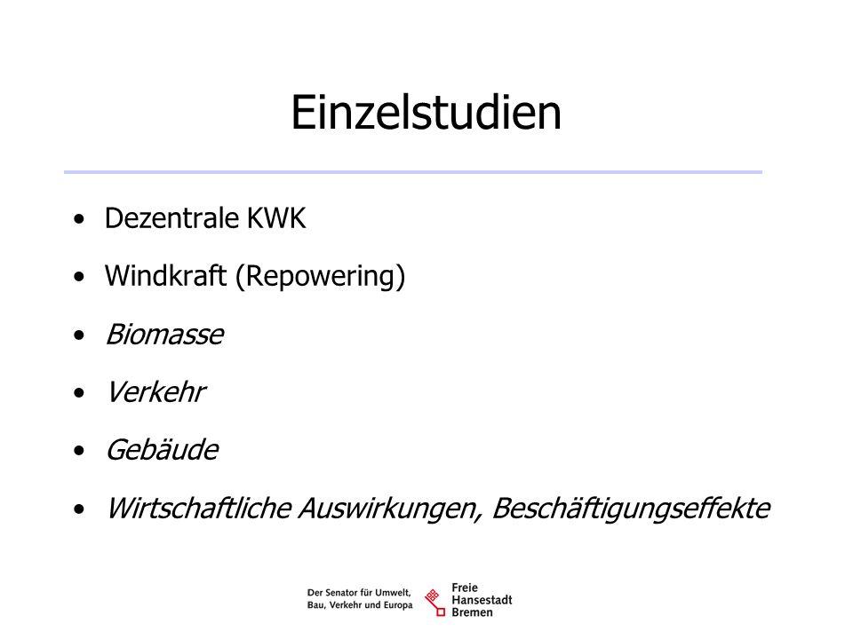 Einzelstudien Dezentrale KWK Windkraft (Repowering) Biomasse Verkehr