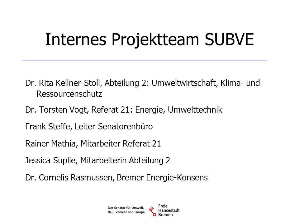 Internes Projektteam SUBVE