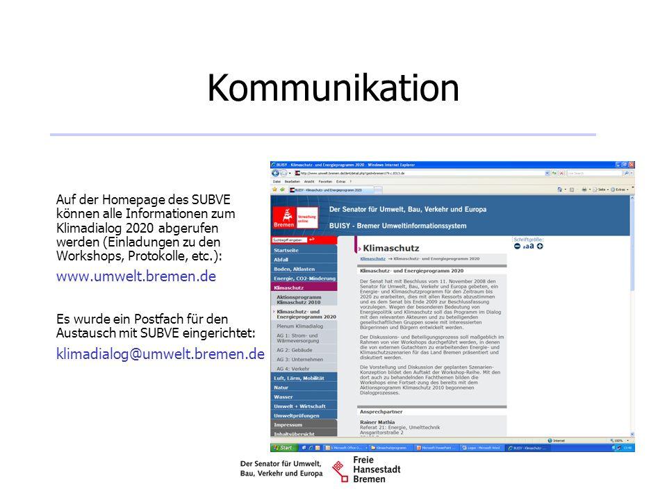 Kommunikation www.umwelt.bremen.de klimadialog@umwelt.bremen.de