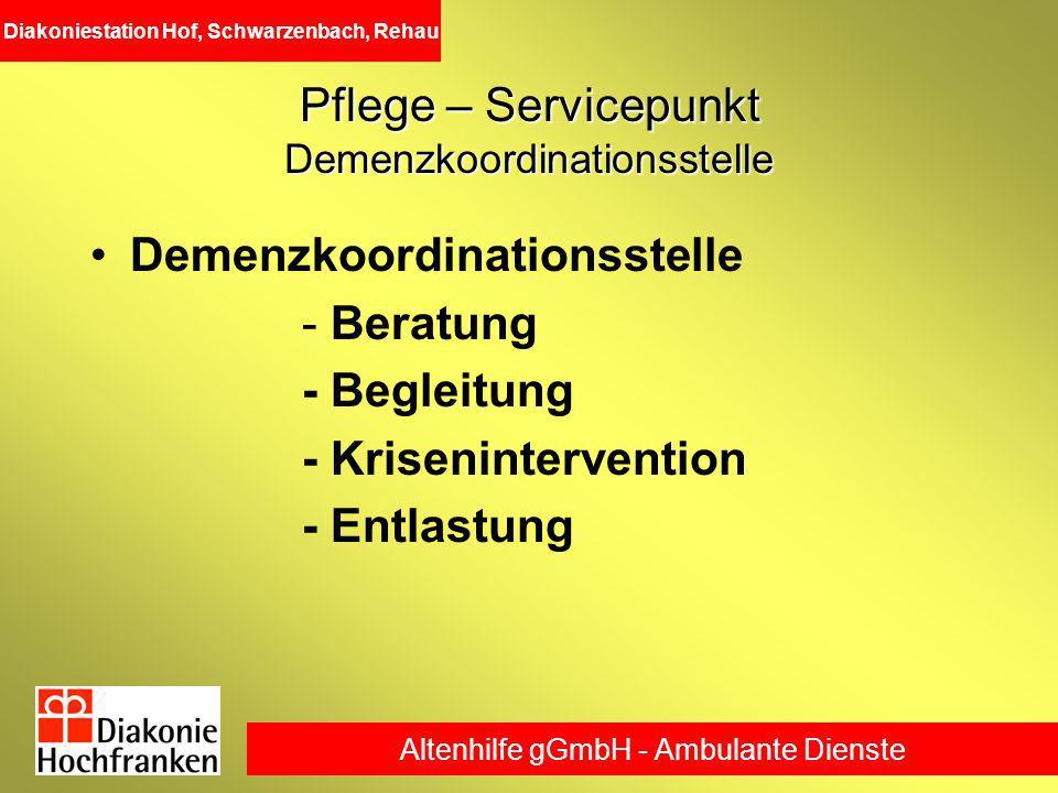Pflege – Servicepunkt Demenzkoordinationsstelle