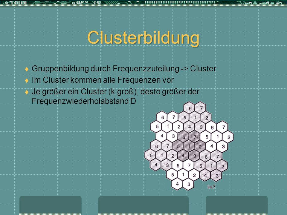 Clusterbildung Gruppenbildung durch Frequenzzuteilung -> Cluster