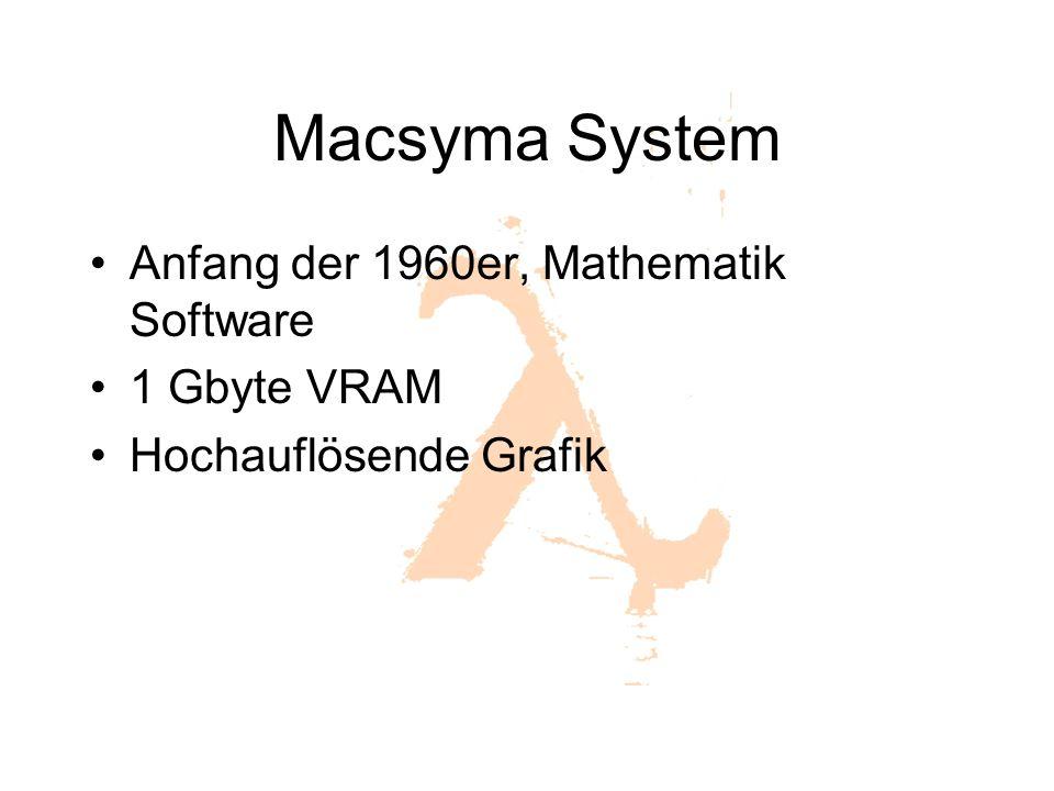 Macsyma System Anfang der 1960er, Mathematik Software 1 Gbyte VRAM