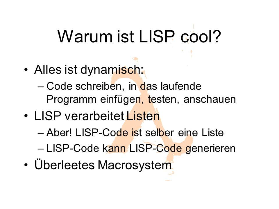 Warum ist LISP cool Alles ist dynamisch: LISP verarbeitet Listen