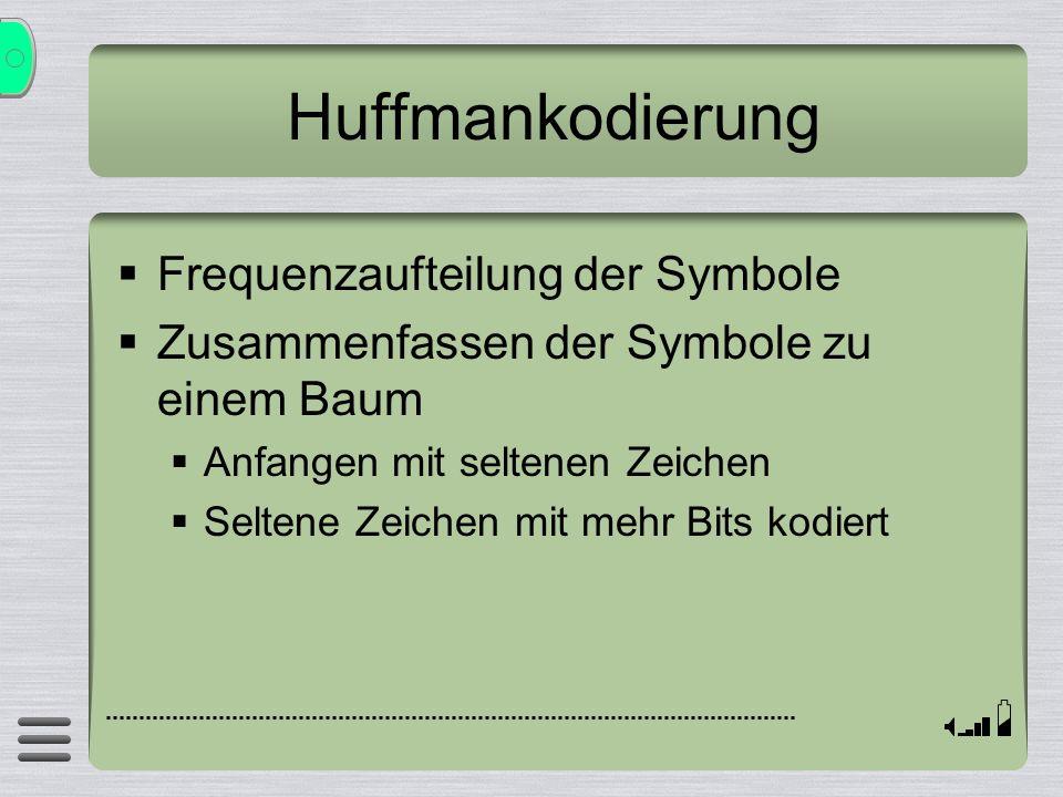 Huffmankodierung Frequenzaufteilung der Symbole