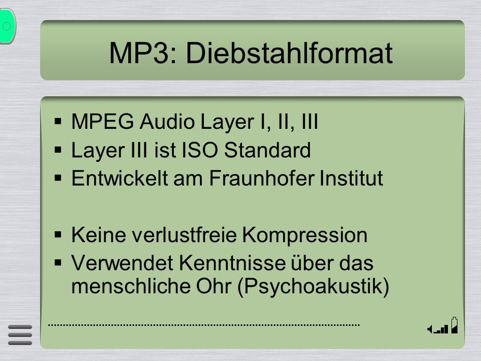 MP3: Diebstahlformat MPEG Audio Layer I, II, III