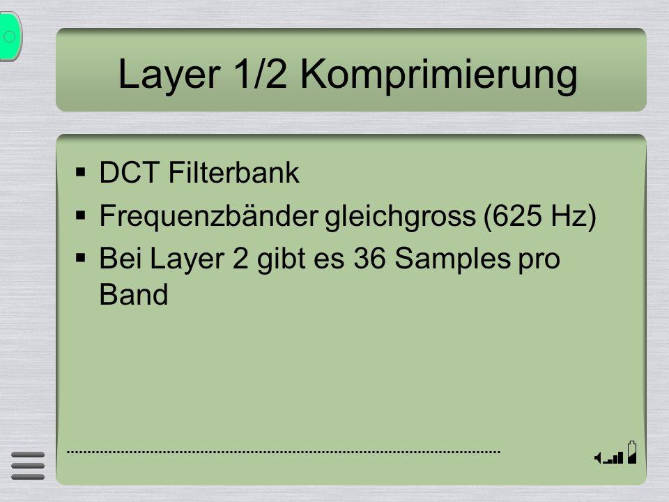 Layer 1/2 Komprimierung DCT Filterbank