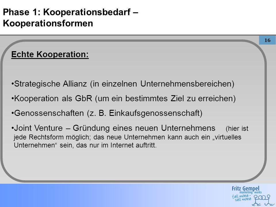 Phase 1: Kooperationsbedarf – Kooperationsformen
