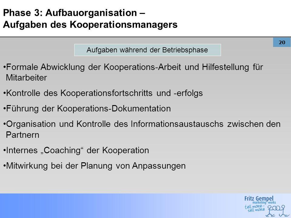 Phase 3: Aufbauorganisation – Aufgaben des Kooperationsmanagers