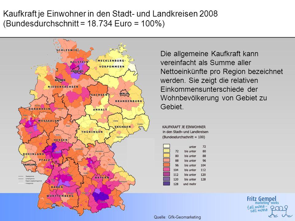 Kaufkraft je Einwohner in den Stadt- und Landkreisen 2008 (Bundesdurchschnitt = 18.734 Euro = 100%)