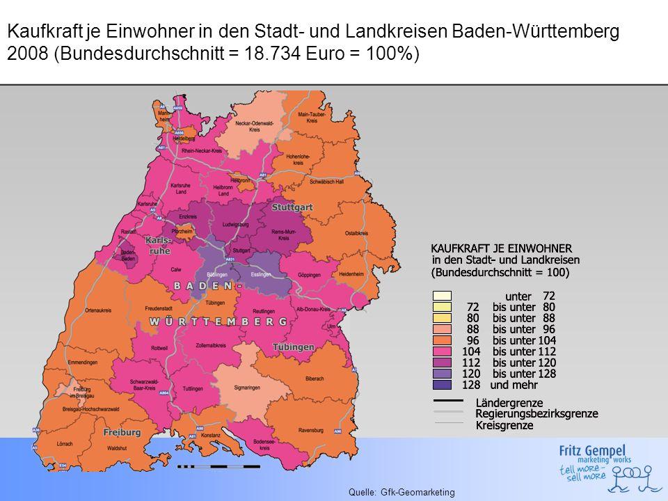 Kaufkraft je Einwohner in den Stadt- und Landkreisen Baden-Württemberg 2008 (Bundesdurchschnitt = 18.734 Euro = 100%)
