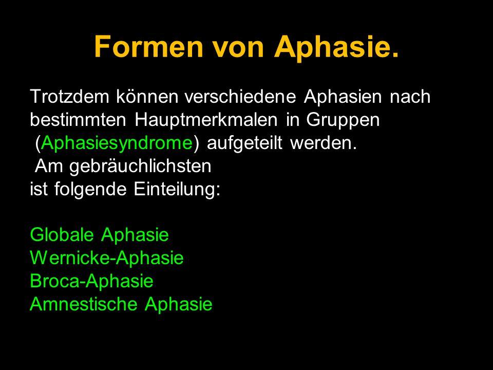 Formen von Aphasie. Trotzdem können verschiedene Aphasien nach