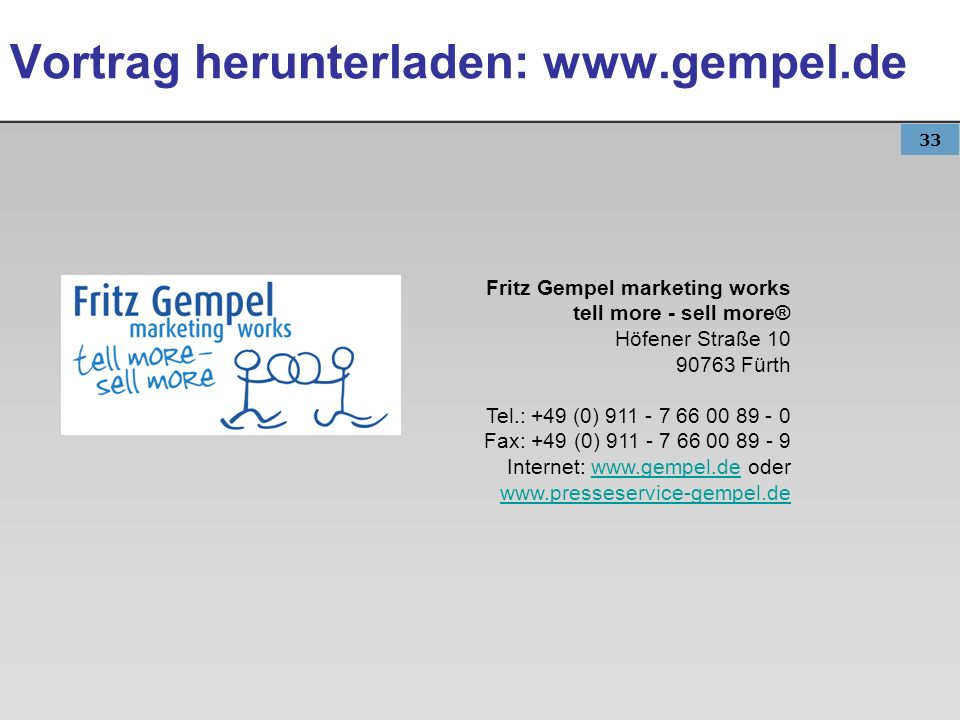 Vortrag herunterladen: www.gempel.de