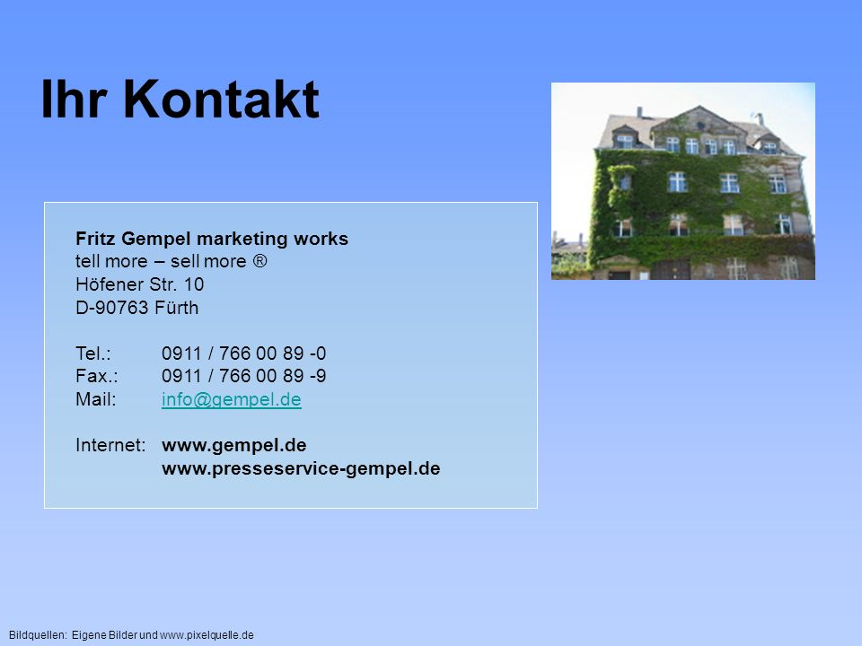 Ihr Kontakt Fritz Gempel marketing works tell more – sell more ®
