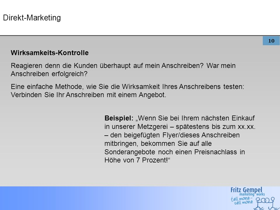 Direkt-Marketing Wirksamkeits-Kontrolle