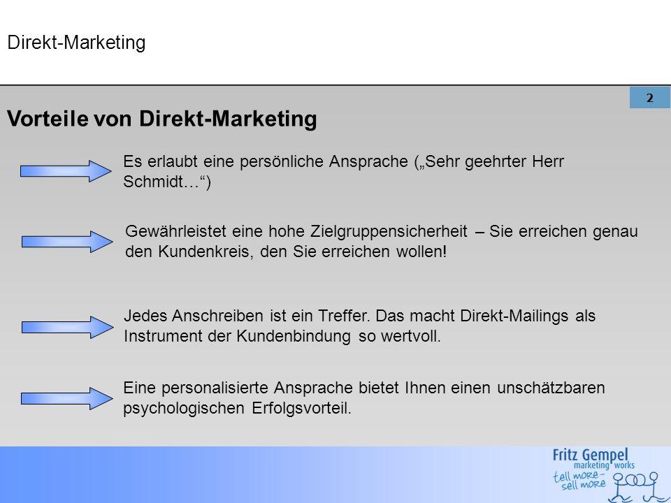Vorteile von Direkt-Marketing