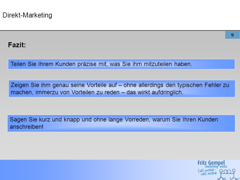 Direkt-Marketing Fazit: