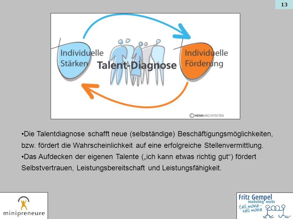 Die Talentdiagnose schafft neue (selbständige) Beschäftigungsmöglichkeiten, bzw. fördert die Wahrscheinlichkeit auf eine erfolgreiche Stellenvermittlung.