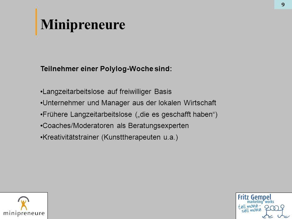 Minipreneure Teilnehmer einer Polylog-Woche sind: