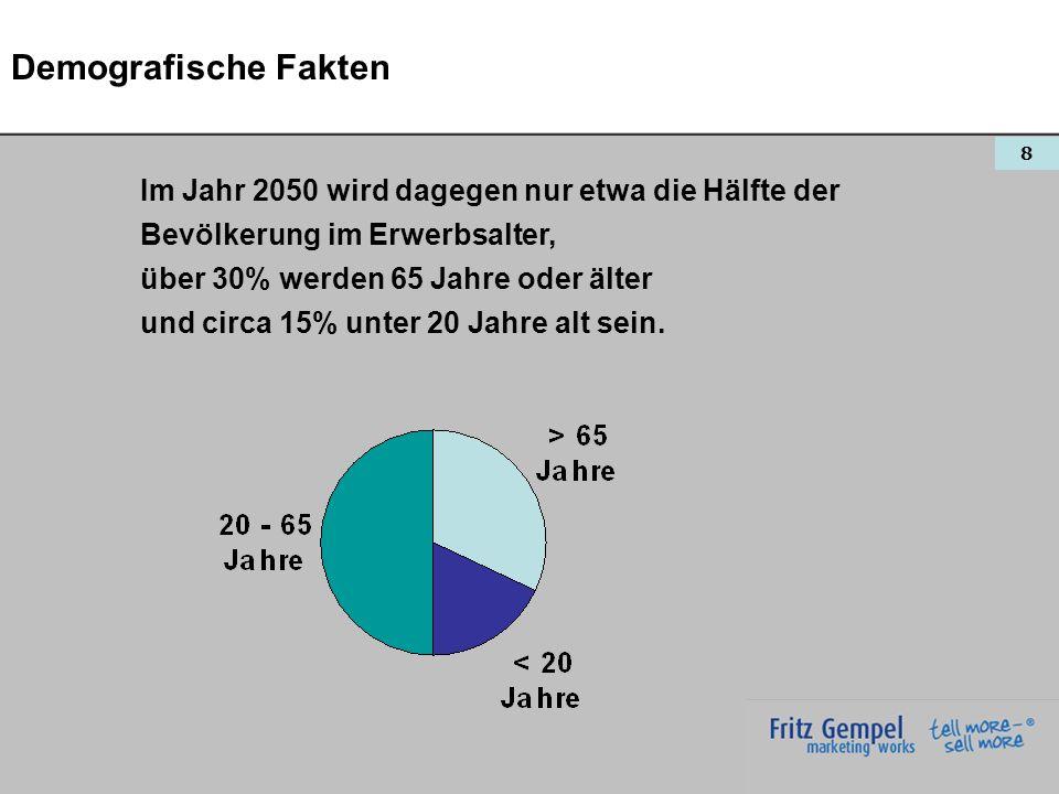 Demografische Fakten Im Jahr 2050 wird dagegen nur etwa die Hälfte der
