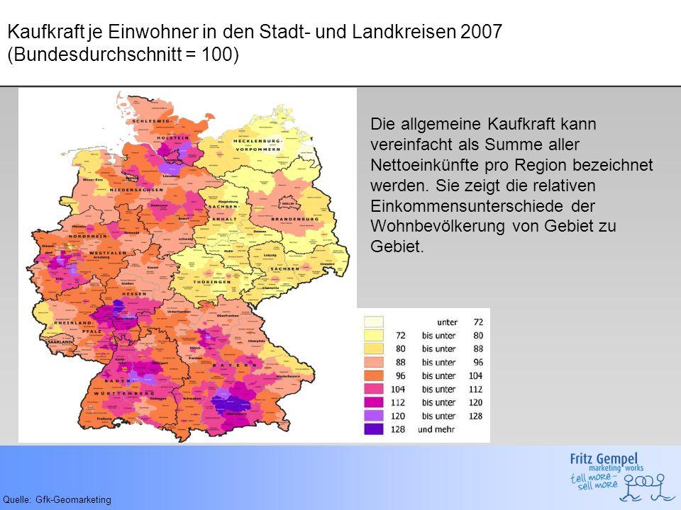 Kaufkraft je Einwohner in den Stadt- und Landkreisen 2007 (Bundesdurchschnitt = 100)