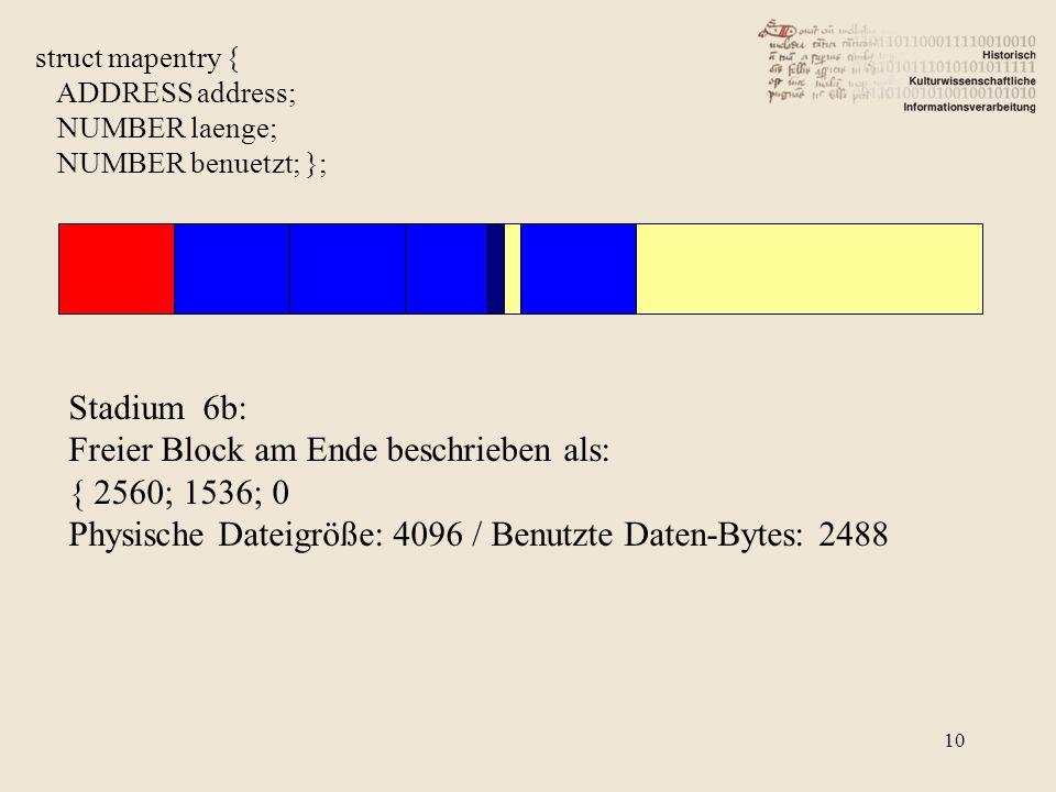 Freier Block am Ende beschrieben als: { 2560; 1536; 0