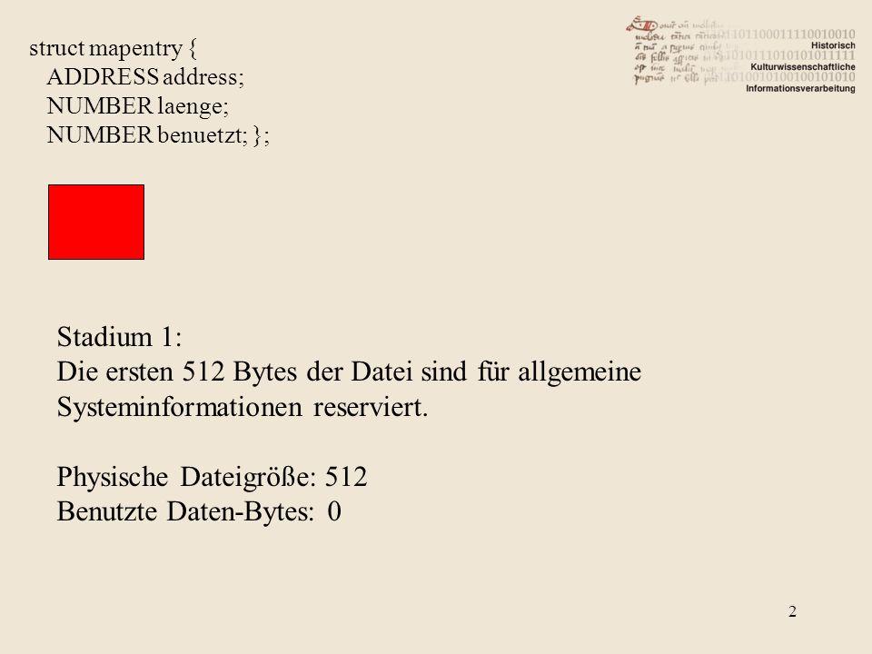 Physische Dateigröße: 512 Benutzte Daten-Bytes: 0