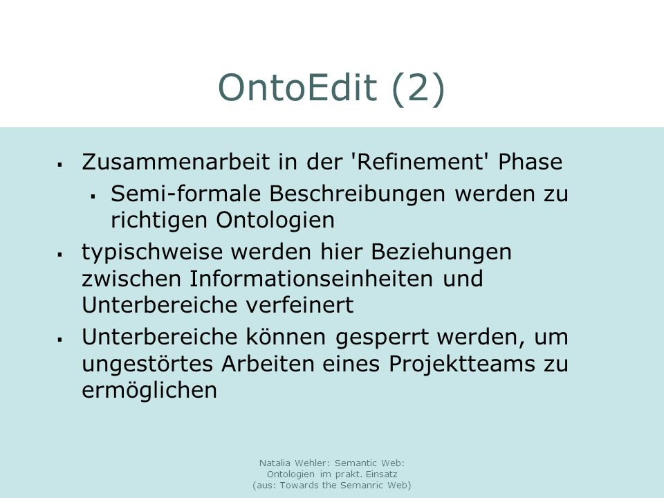OntoEdit (2) Zusammenarbeit in der Refinement Phase